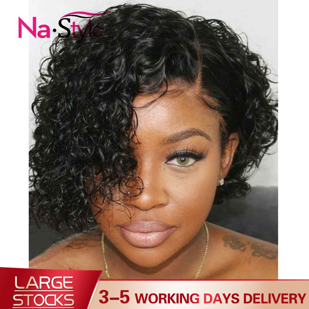 Pixie Cut Lace Wig Preplucked Blunt Cut Bob Lace Front Wigs Short Human Hair Wigs Curly 13x6 Lace Front Human Hair Wigs Glueless