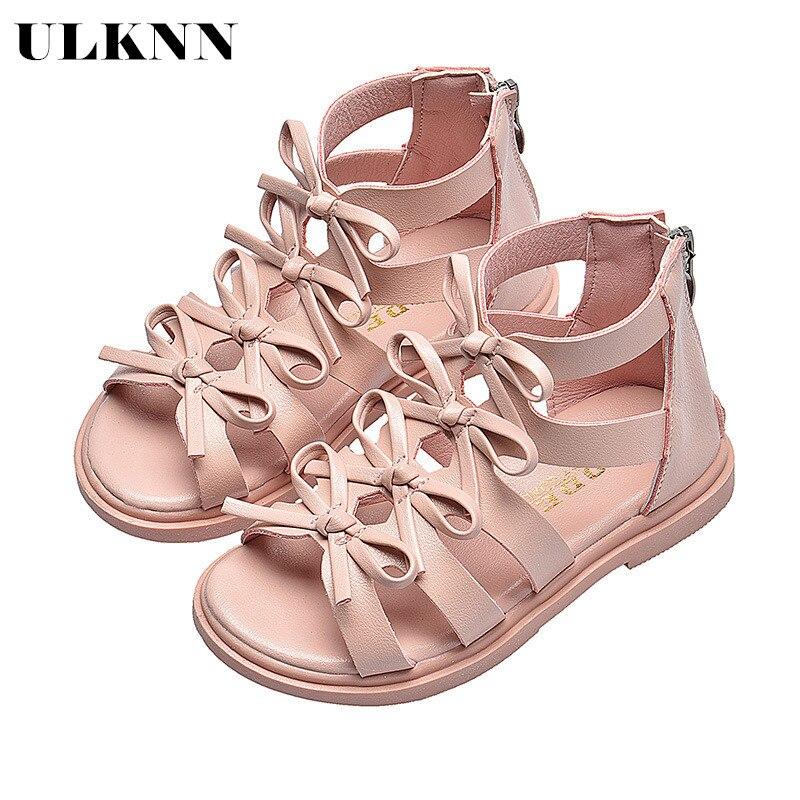 ULKNN Beach Sandals For Big Girls Summer Gladiator Cut-Outs Kids Shoes Bowtie Leisure Children Mini Melissa Boys Rome Sandals