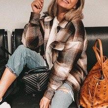 Vintage Vogue Contrast Colors Patchwork Plaid Jacket Women Pockets lapel Long sl