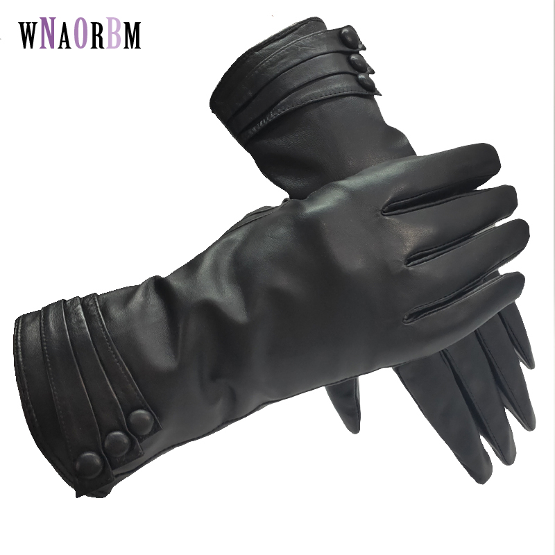 New Women's Gloves Genuine Leather Winter Warm Fluff Woman Soft Female Rabbit Fur Lining High-quality Mittens