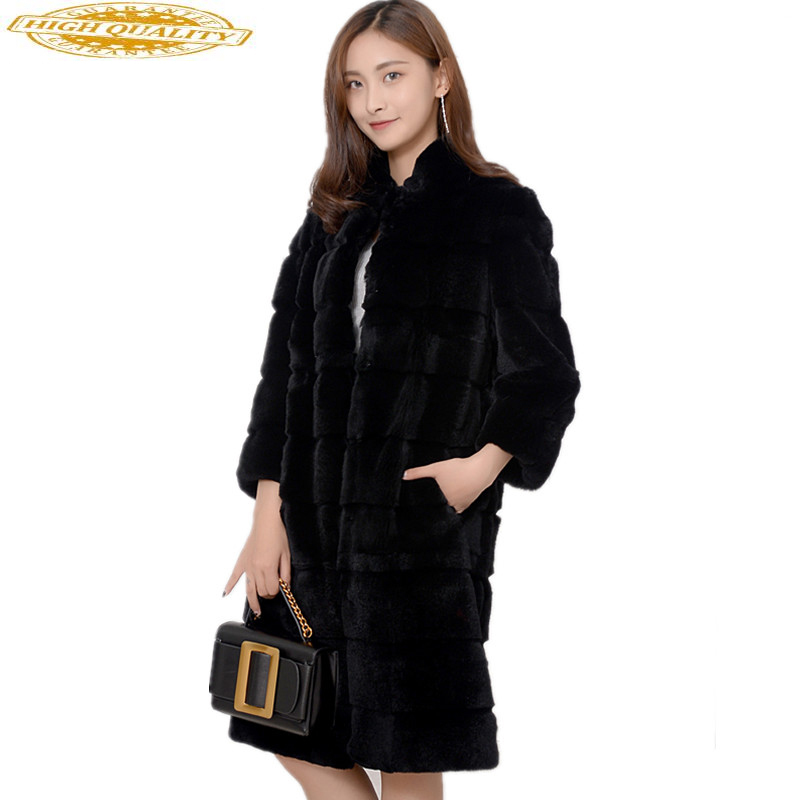 2020 Luxury Real Rex Rabbit Fur Coat Female Solid Long Warm Winter Jacket Women Genuine Natural Fur Coats Outwear YQ1546