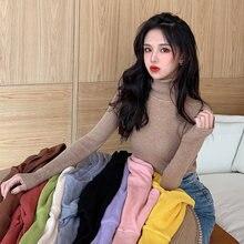 Однотонные женские свитера сезон осень зима 2020 толстый облегающий