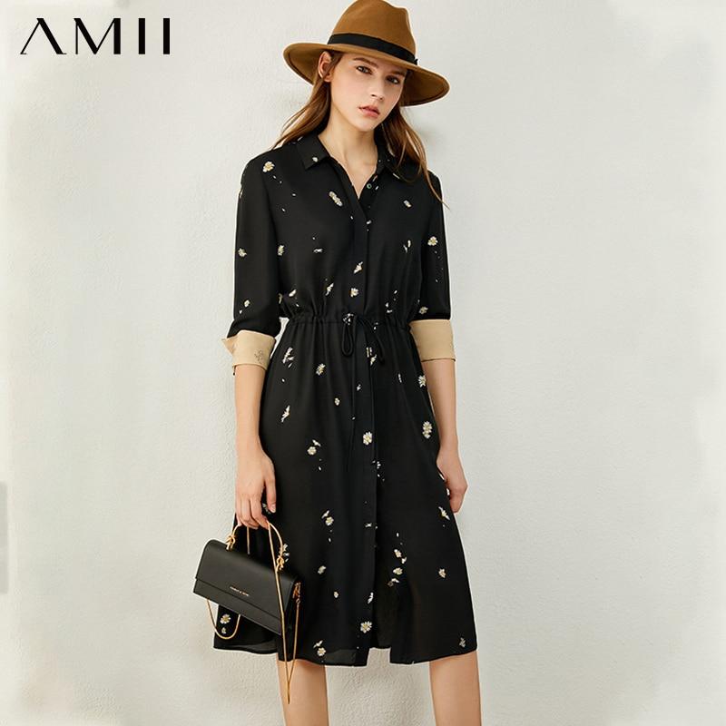 AMII Minimalism Autumn Dresses For Women Fashion Causal Lapel Pinted Elastic Waist Chiffon Dress Women's Dress 12040846