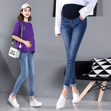 Maternity Clothes Elastic Soft Jeans Skinny Pregnancy Pants Lovely Trousers for Pregnant Women Spring Summer Clothing