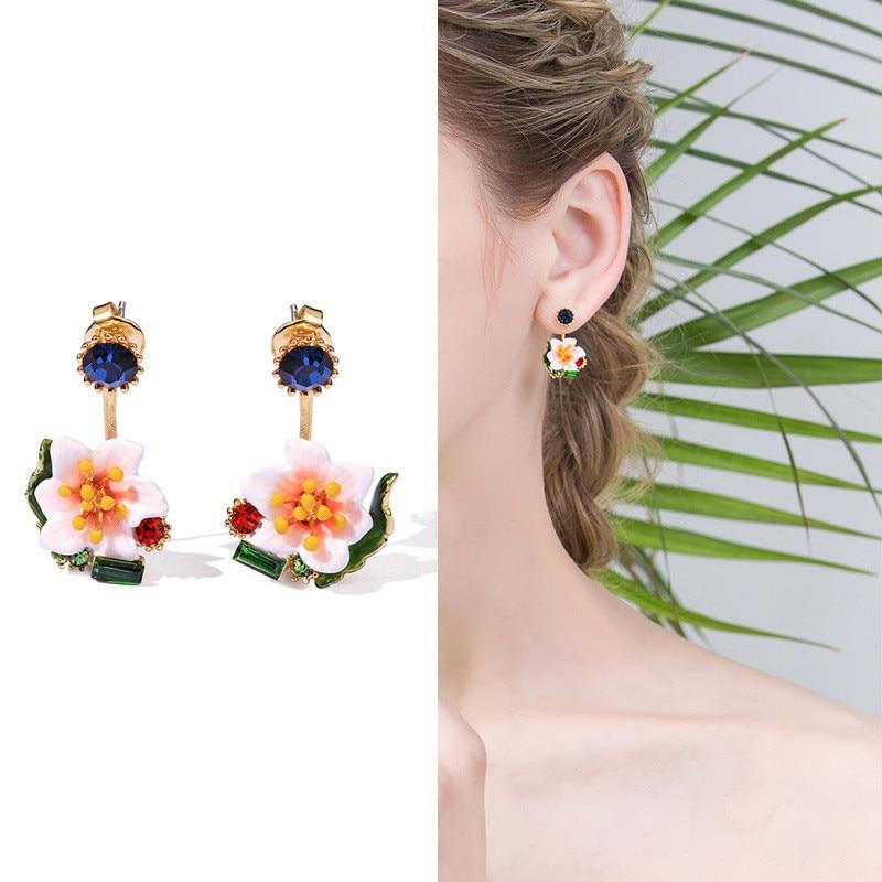 Émail frais glaçure a deux pièces fleur boucles d'oreilles femme mode gemme boucles d'oreilles