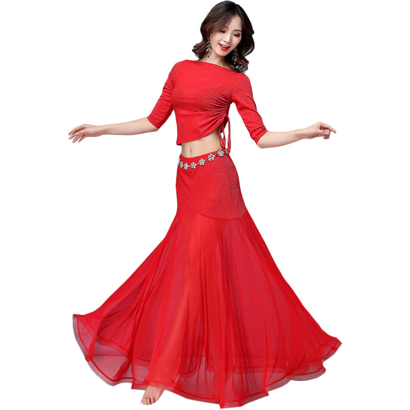 2019 New Dance Clothes Suit Tops + Skirt Spring Belly Dance Costume Silver Silk Swing Skirt Show Practice Female