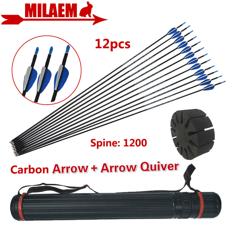 12pcs 32inch Archery Carbon Arrow With Arrow Quiver Spine 1200 Rubber Feather ID4 2mm Compound Recurve