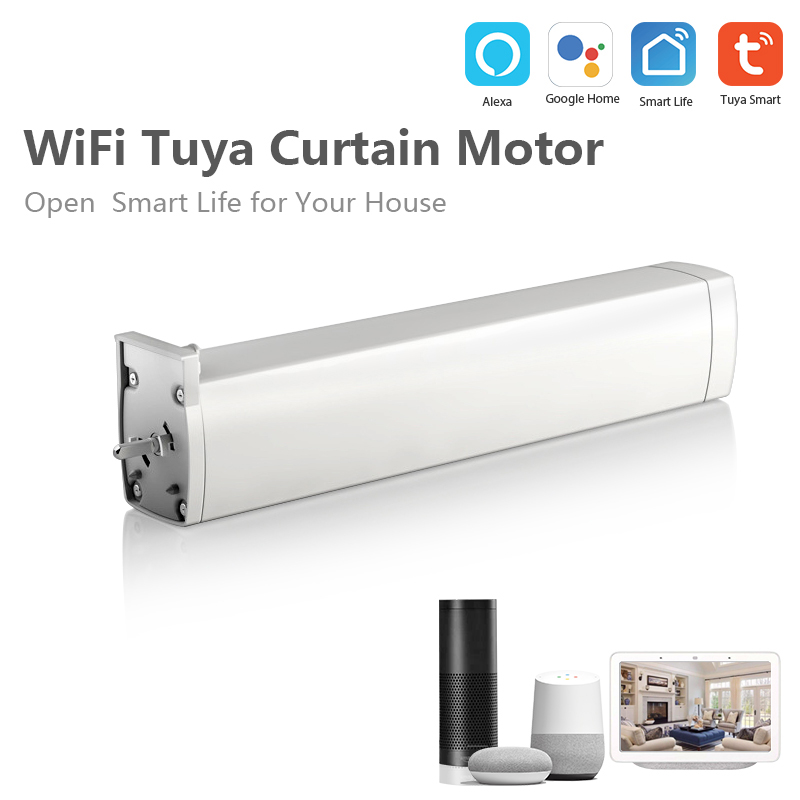 Smart Wifi Curtain Motor Work Amazon Alexa/Google Assistant/ IFTTT Tuya Smart Life APP Smart Home Device Wireless Remote Control