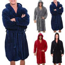 Men Solid Hooded Bathrobe Towel Soft Gown Midi Robe Lounge Wear Winter