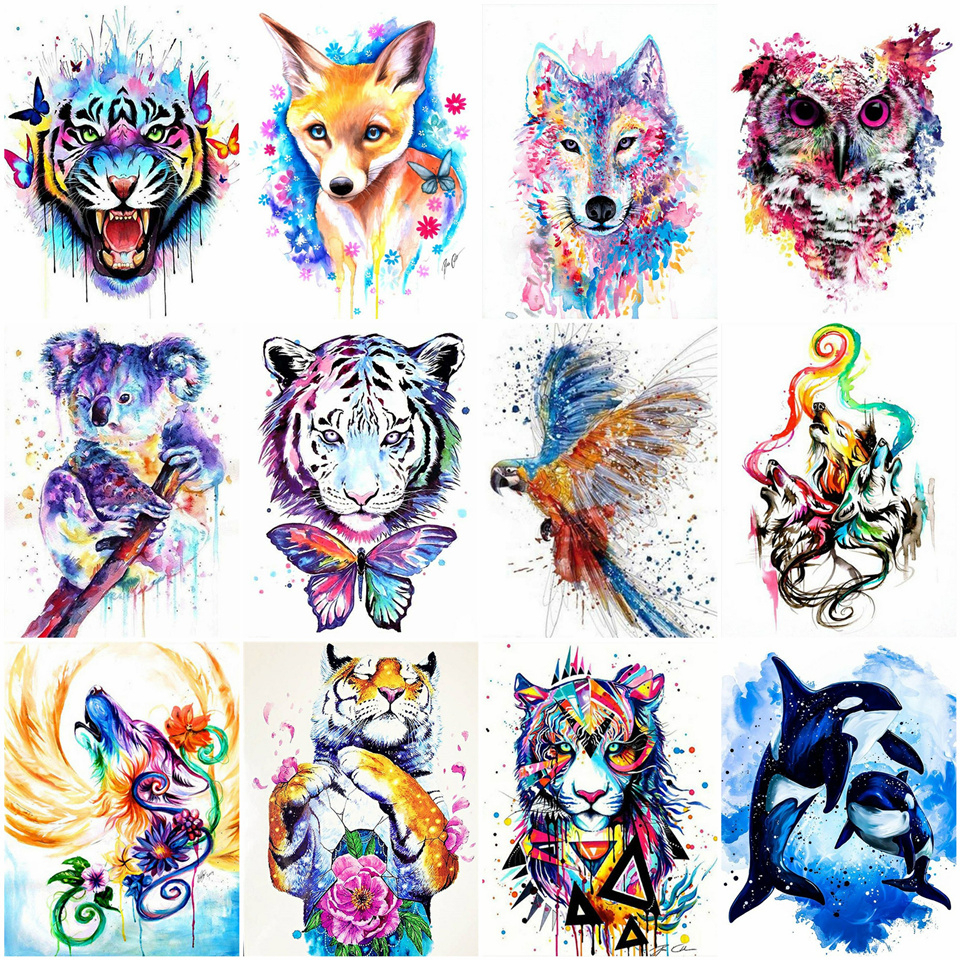 AZQSD DIY Paint By Number Canvas Painting Animal Acrylic Paint Decoration Coloring By Numbers Tiger Unique Gift For Adults
