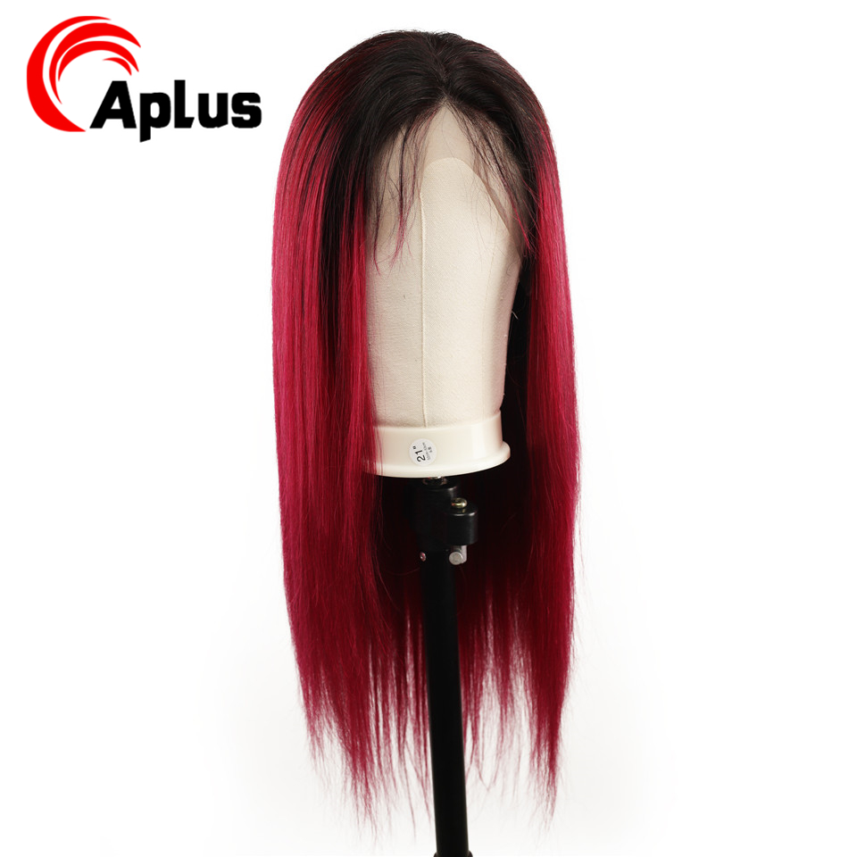13*4 Straight 1b Burgundy Colored Lace Front Human Hair Wigs Black Women Ombre Burgundy Lace Front Wig Pre Plucked Peruvian Remy