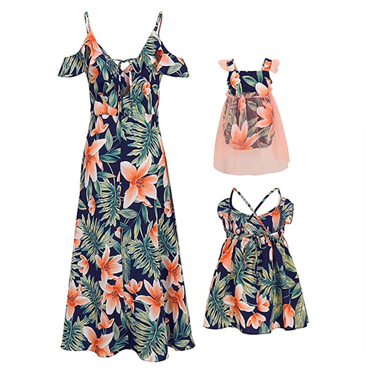 new-fashion-mommy-and-me-family-matching-sleeveless-flower-print-dress-mother-daughter-bow-headband-loose-boho-beach-dresses
