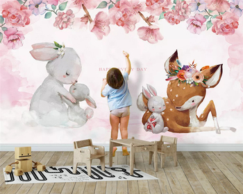 beibehang papel de parede Customized modern fashion wallpaper Nordic Elk mother child rabbit background wall papers home decor