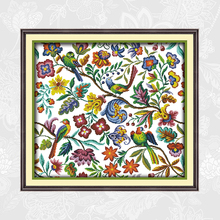 Joy Sunday Birds and flowers Aida Fabric Cross-stitch Kit DIY Handmade Embroidery Printed On Canvas Cross Stitching Needlework