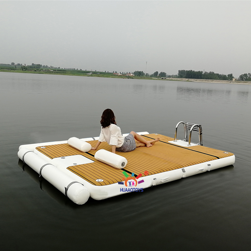 Drop Stitch 3x2m Water Floating Mat Inflatable Raft Teak Leisure Platform Jet Ski Dock With Stainless Ladder