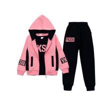 Kids Girls Clothing Set Jacket Letter Zipper Hoodies Pants