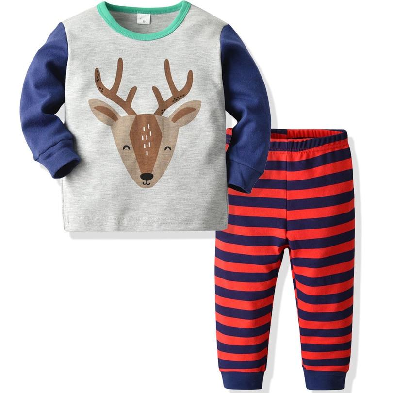Little Boys Girls Pajamas Sets Infant Long Sleeve 2 Piece Xmas Reindeer Cotton Striped Pjs Sleepwear Outfits Homewear