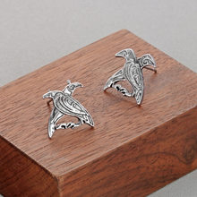 Qiming New Style Unique Cool Creative Old Silver Double Bird Stud Slavic Stud Send Birthday Gift(China)