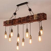 Vintage Led Anhänger Lampe Restaurant Bar Cafe Nordic Holz Glanz Kreative Holz Lichter Kunst Deco Industrielle Decke Kronleuchter