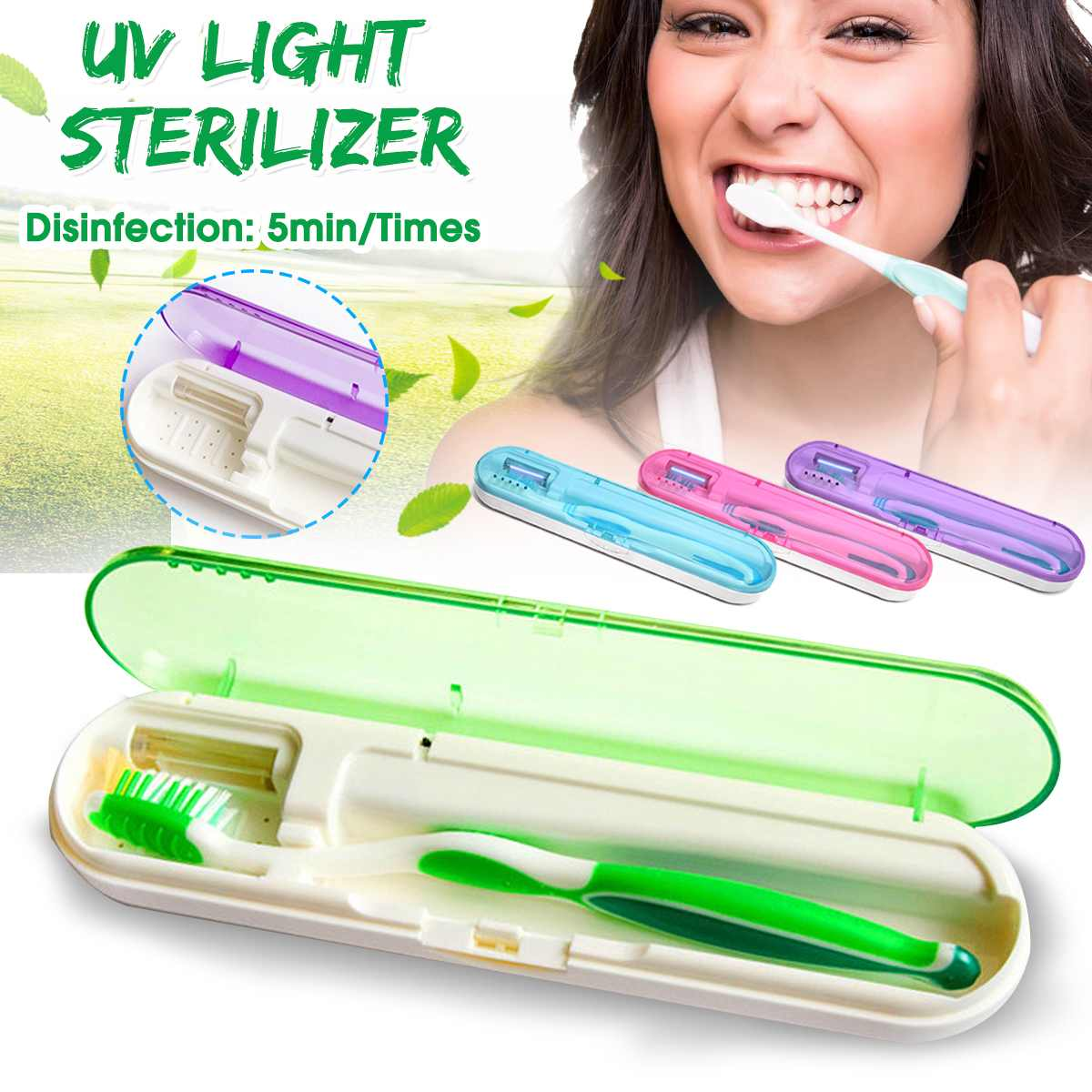 UV Box Toothbrush Sanitizer Sterilization Holder Cleaner Box Battery Charge Health Dental Care Toothbrush Sterilize Storage Case image
