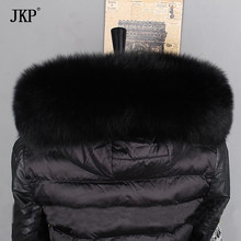 JKP Winter Real Fox Fur Collar for Women 2019 New Fashion Thicken Warm Soft Scarf Natural Fox Fur Scarves High Quality WJ93(China)