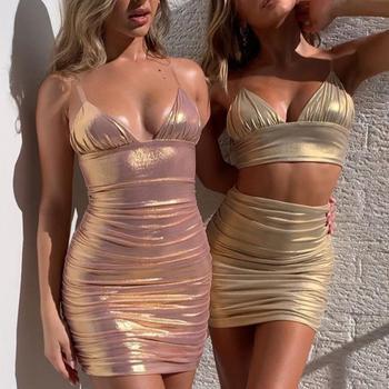 NEDEINS 2020 Summer Sexy Party Dress Evening Bodycon Dress V-neck Backless Fashion Slim Nightclub PU Sexy Girl Dress