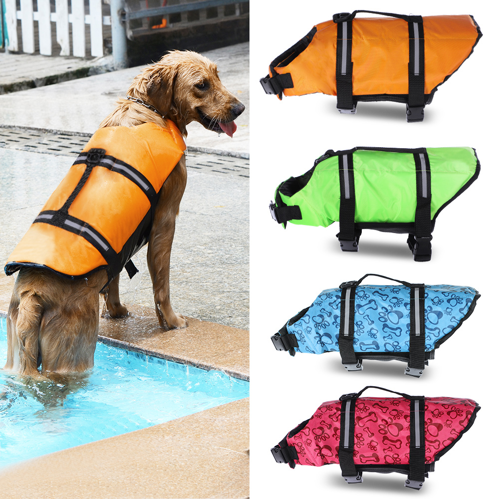 Dog Life Jacket Vests Pet Dog Float Puppy Rescue Swimming Wear Safety Clothes Vest Life Vest Suit Swimsuit with Reflective Strip