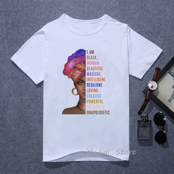I Am a Powerful Black Melanin Woman letter print t shirt African Black Girl History Month tshirt female graphic tee shirt femme because i am a girl
