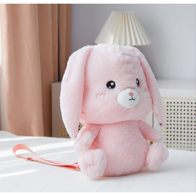 Cute Rabbit Toy For Baby Photos Decoration Kids Girl Pink Backpack Newborn Baby Plush Toys Bag Photography Accessories