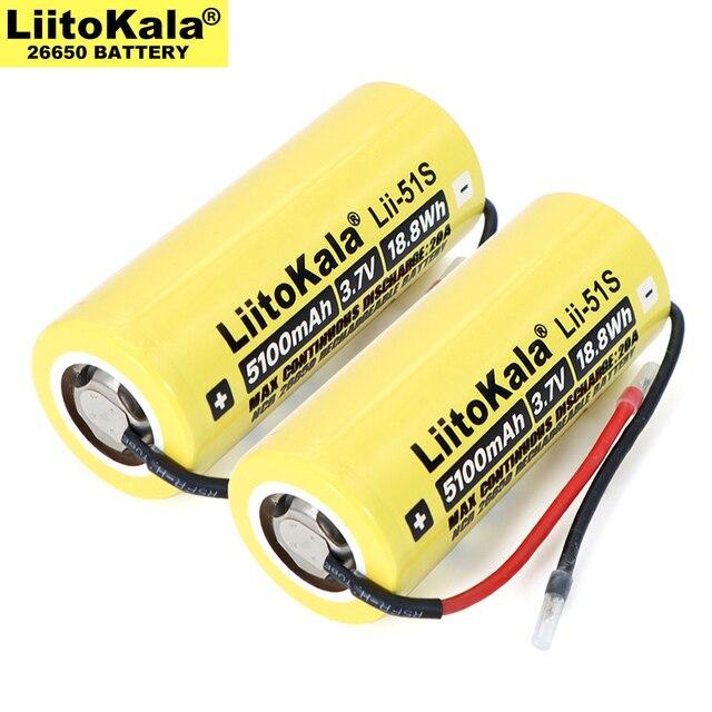 2020 neue 26650 5100mAh hohe Kapazität Li-Ion 3,7 v Akku 20A Entladung 3,6 V Power batterien + DIY kabel