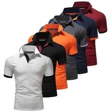 Мужская одежда 2019, летняя однотонная приталенная рубашка поло с короткими рукавами, мужская повседневная рубашка поло с классическими дышащими пуговицами, 6 цветов
