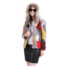 Модное Новое зимнее женское пальто из натурального меха, пальто из натуральной шерсти, цветное лоскутное пальто с цветком енота и меховым воротником
