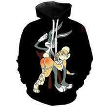 New rabbit hoodie 3D cartoon anime boys and girls, children's fashion casual, stylish personality sweatshirt 2021 plus size top