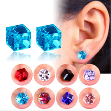 1 Pair Crystal Magnetic Earrings Water Cube Health Magnet Color No Hole