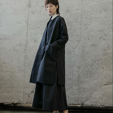 Vintage Women Trench Medium Length Loose Trench Coat Ladies Black Trench Plus Size Outwear Spring Trench cheap Solid Full Long Broadcloth Casual Polyester Single Breasted