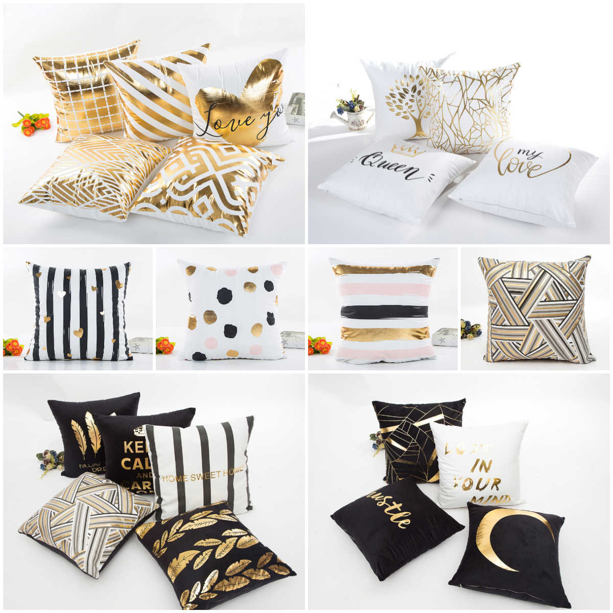 Gold Bronzing Simple Black White Cushion Cover Nordic Geometric