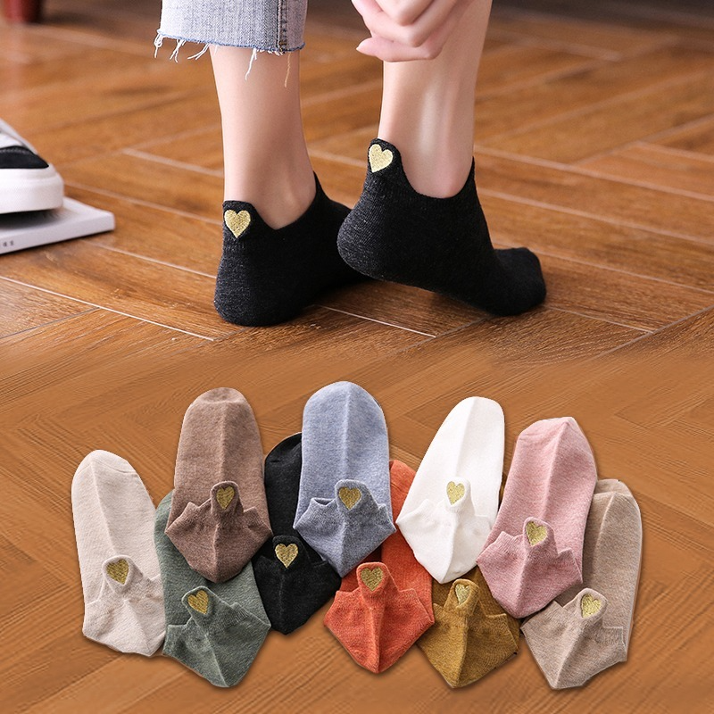 Fashion Socks Woman 2021 New Spring 4 Pairs Ankle Girls Cotton Color Novelty Women Fashion Cute Heart Casual Funny Sock Autumn
