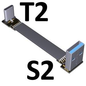 Image 5 - 3A USB 유형 C 90도 USB C 케이블 리본 플랫 각도 아래로 구즈넥 타입 USB 3.0 유형 C 고속 데이터 케이블