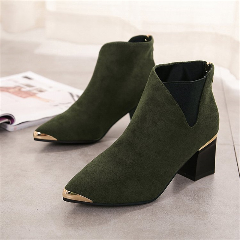 COOTELILI Ankle-Boots Pointed-Toe Female Fashion Women Mujer Brand Basic for Black Botines