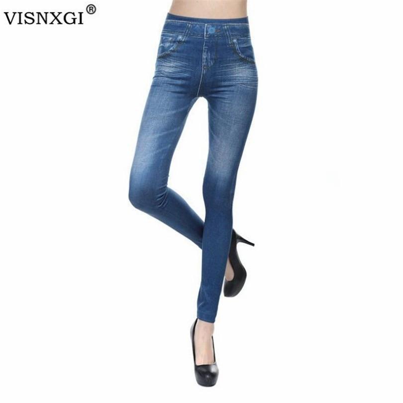 VISNXGI 2019 New Hot Jeans Leggings For Women Denim Pants With Pocket Cashmere Imitation Cowboy Slim Leggings Women Fitness XXL