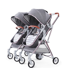 Detachable Twin Baby Stroller Luxury Double Twins Carriage High Landscape Reversible Hot Mom Trolley