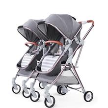 купить Detachable Twin Baby Stroller Luxury Double Stroller Twins Carriage High Landscape Reversible Hot Mom Stroller Baby Trolley дешево