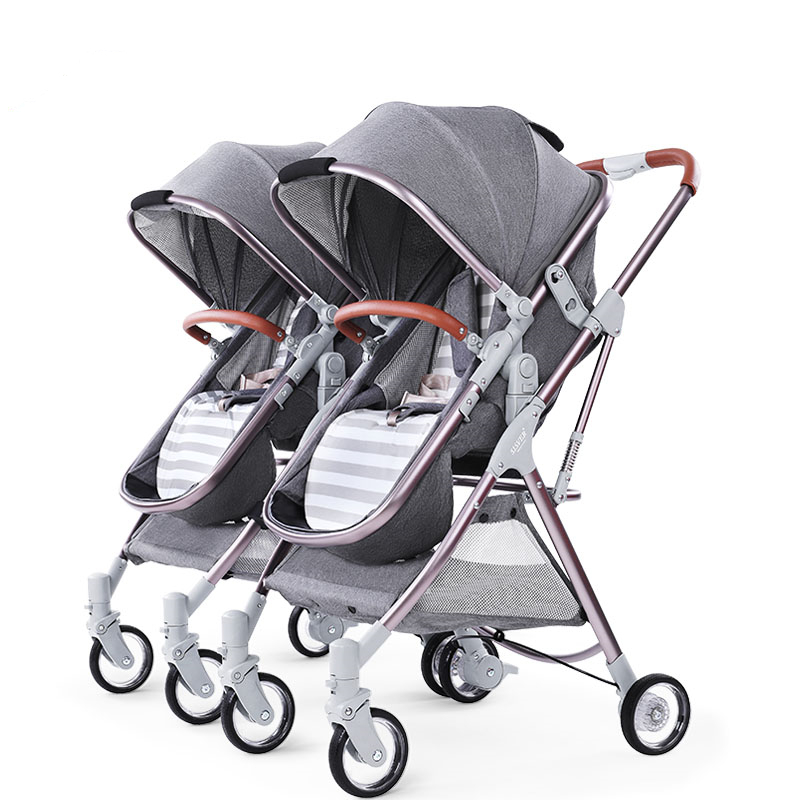 Detachable Twin Baby Stroller Luxury Double Stroller Twins Carriage High Landscape Reversible Hot Mom Stroller Baby Trolley image