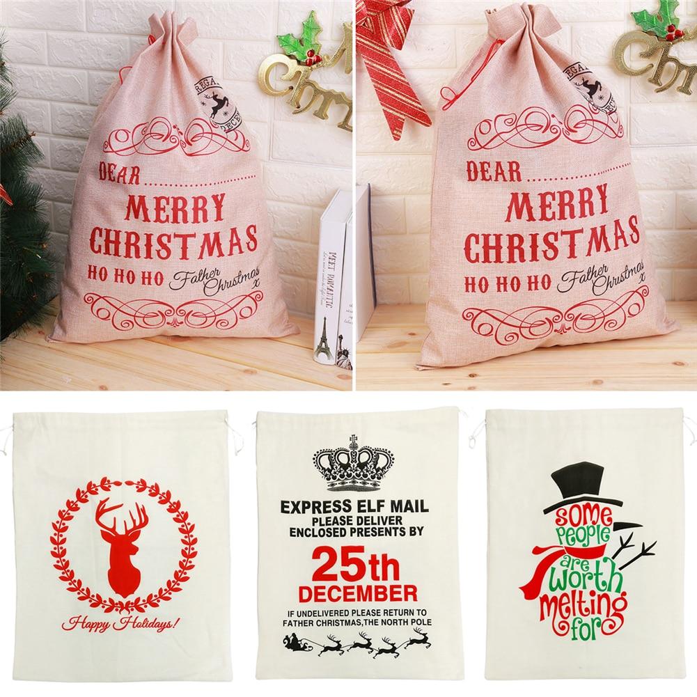 Christmas Gift Bags Sack White Funny Bag Santa Gunny Bags Beautiful Pattern Xmas Decoration Father Kids Gift Jute Christmas Bag