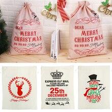 Noel hediyesi çanta çuval beyaz komik çanta Santa Gunny çanta güzel desen noel dekorasyonları baba çocuklar hediye jüt noel çanta