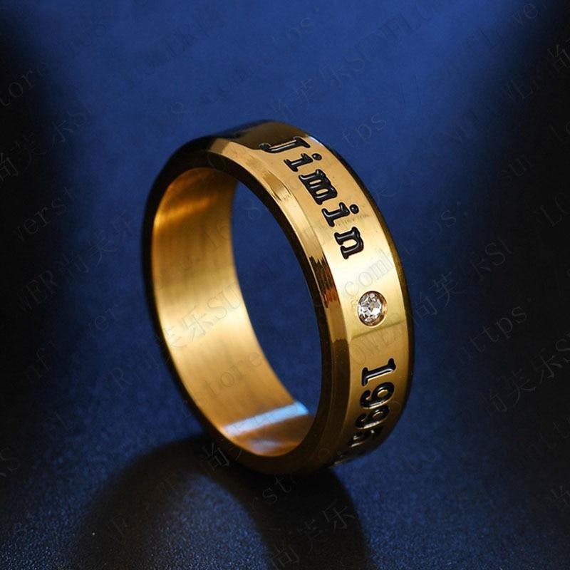 1pcs BTS Black Gold Silver Gloss Rings Name Birthday 16