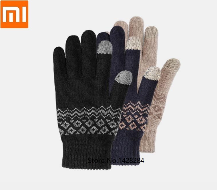 Xiaomi Winter Men Touch Screen Warm Velvet Gloves Male Mitten Thicken Warm Business Knitted Sweater Driving Gloves