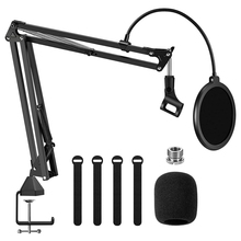 Hot Microphone Arm Stand,Adjustable Suspension Boom Scissor Mic Stand with Filter, 3/8inch to 5/8inch Adapter