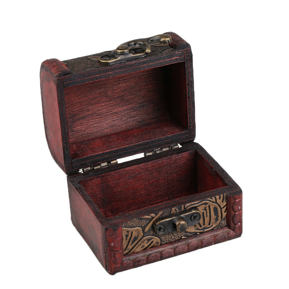 Hollow Pattern Vintage Red Wooden Jewelry Display Box Necklace Bracelet Rings Storage Organizer Storage Case Gift Box