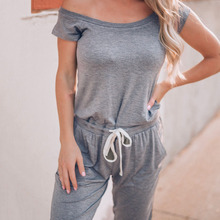 Women Jumpsuits Solid Color Short Sleeves Off Shoulder Tied Jumper for Summer MC889 drop shoulder solid jumper
